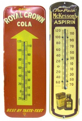 RC Cola Litho On Metal Thermometer & McKessons Por