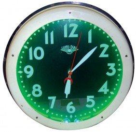 Neon Clock W/Lumi-Dial, Porcelain Face & Bezel, VG