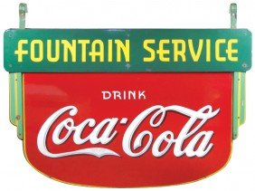 Coca-Cola Fountain Service Diecut Porcelain Sign,