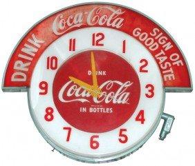 """Coca-Cola Cleveland Neon Clock W/Coca-Cola """"Drink-"""