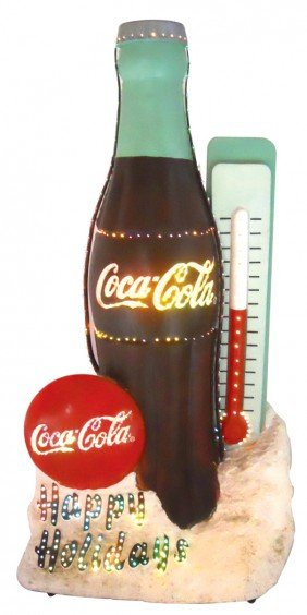 "Coca-Cola ""Happy Holidays"" Bottle/thermometer Disp"