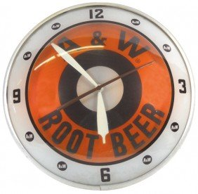 A & W Root Beer Double-bubble Light-up Clock, Exc
