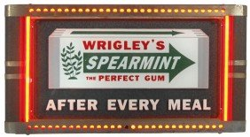 Wrigley's Spearmint Gum Neon Counter Sign, Deeply