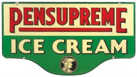 Pensupreme Ice Cream Diecut Porcelain Sign, 2-side