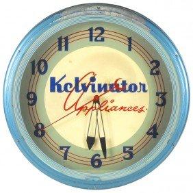 Kelvinator Appliances Neon Clock, Mfgd By Lackner