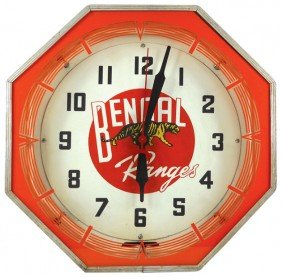 Bengal Ranges Neon Clock, Mfgd By Neon Products I