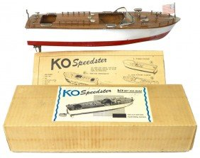Toy Boat, KO Inboard Speedster, Wood, Exc Cond