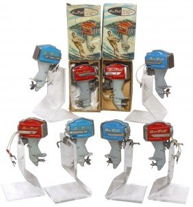 Miniature Outboard Motors (8) & (2) Boxes; All Ar
