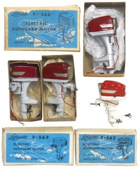 Miniature Outboard Motors  (4) & (3) Boxes, All