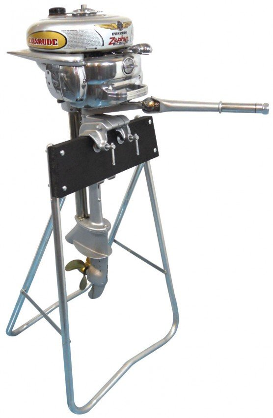 0135: Boat outboard motor w/stand, Evinrude Zephyr, c.1 ...