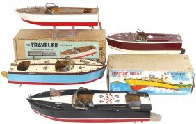 Toy Boats (4), All Are Japanese Wood Boats, Inclu