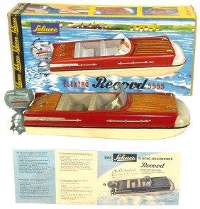 Toy Boat, Schuco Elektro Record 5555, Metal & Pla