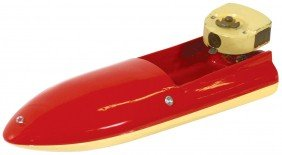 """Toy Boat, Rare """"Spiffy"""" Wood Boat W/early Clockwo"""