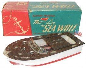 Toy Boat, Fleet Line Sea Wolf W/box, Exc Cond, 16