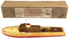 """Toy Boat, """"Seahawk"""" Steam Cruiser, Mfgd By Bowman"""