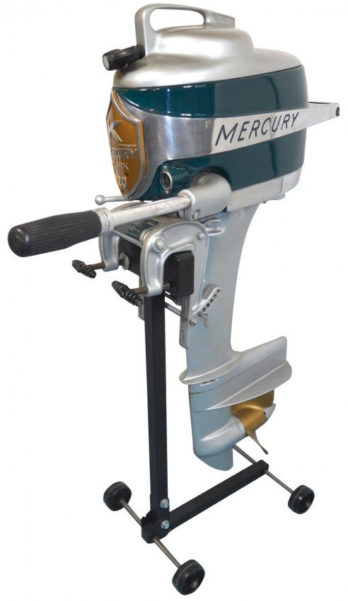 0909 boat outboard motor w stand mercury mark 20 hurr for Vintage mercury outboard motors