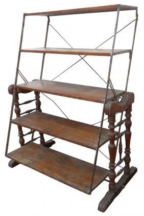 Country Store Baker's Rack, Oak W/5 Shelves, Orig