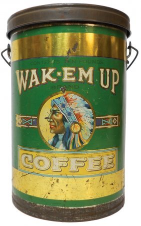 Country Store Coffee Tin Wak Em Up Coffee From Lot 827