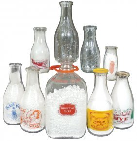 Milk Bottles (9), Fairmont's Dairy-omaha, Ne; Dutch