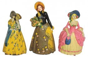 """Doorstops (3), Colonial Woman, Vg+ Cond, 10.25""""h; Woman"""