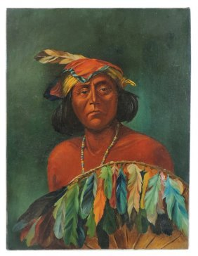Native American Oil On Canvas, Beautiful Bright