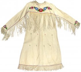Native American Dress, Soft Tanned Leather W/beading &