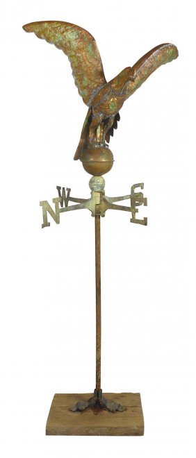 Weathervane, Eagle W/outstretched Wings On Globe, Full