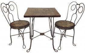 Child's Ice Cream Table & 2 Chairs, Wrought Iron