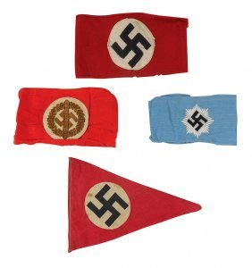Militaria Bands & Pennant (4), (3) German Ww2 Armbands: