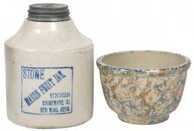Stoneware (2), Mason Fruit Jar, Union Stoneware Co.-red