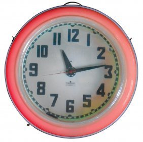 Clock, Cleveland Neon, Mfgd By Electric Neon Clock Co.,