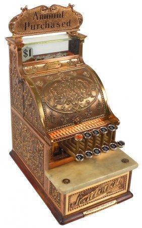 National Cash Register, Model 216, Ornate Brass