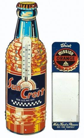 Soda Fountain Thermometer & Mirror (2), Sun Crest