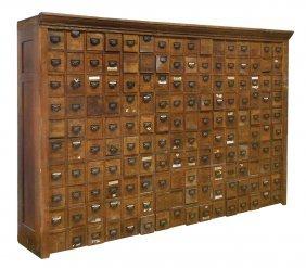 Hardware Store Wall Cabinet, Quartersawn Oak, Vg Cond