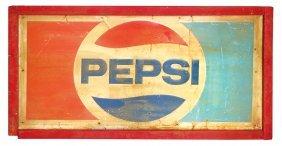 Soda Fountain Sign, Pepsi, Embossed Metal In Wood