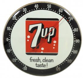 Soda fountain thermometer, 7Up, metal w/convex glass