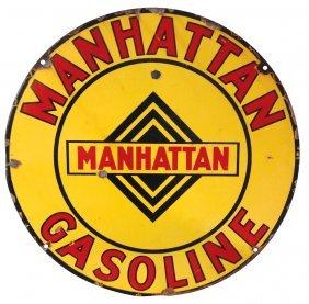 Gasoline sign, Manhattan Gasoline, DSP, Good+/VG cond
