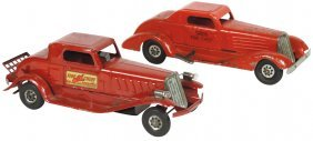 Toy fire chief cars (2), both pressed steel, Girard