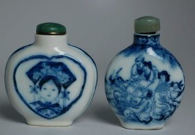 Two Chinese Blue And White Porcelain Snuff Bottles