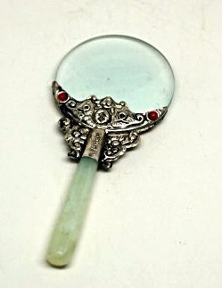 A Chinese Magnifier With Jade Handler