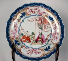 A Chinese Antique B&w Famille Rose Plates