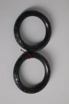Two Chinese Wooden Bracelets,19th Century