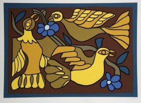 Victor Delfin, Three Doves, Silkscreen