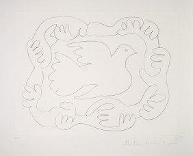 Pablo Picasso, Etudes De Mains Et Colombe, Lithogra