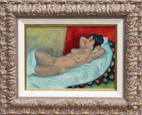 Ernest Fiene, Reclining Nude, Oil Painting