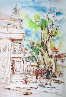 Chaim Gross, Street Scene, Watercolor