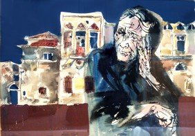 Moshe Gat, Portrait Of Woman And Village, Gouache A