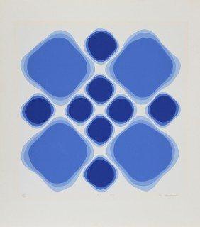 Blue Geometric Abstract #15, Silkscreen