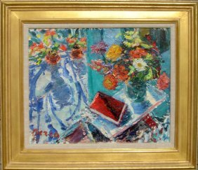 Dimitrie Berea, Flowers And A Red Book, Oil Paintin