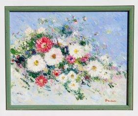 Jean-Pierre Dubord, Les Fleurs Du Jardin, Oil Paint